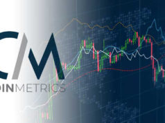 Логотип Coinmetrics, график